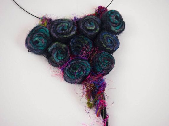 Wearable art necklace felt beads