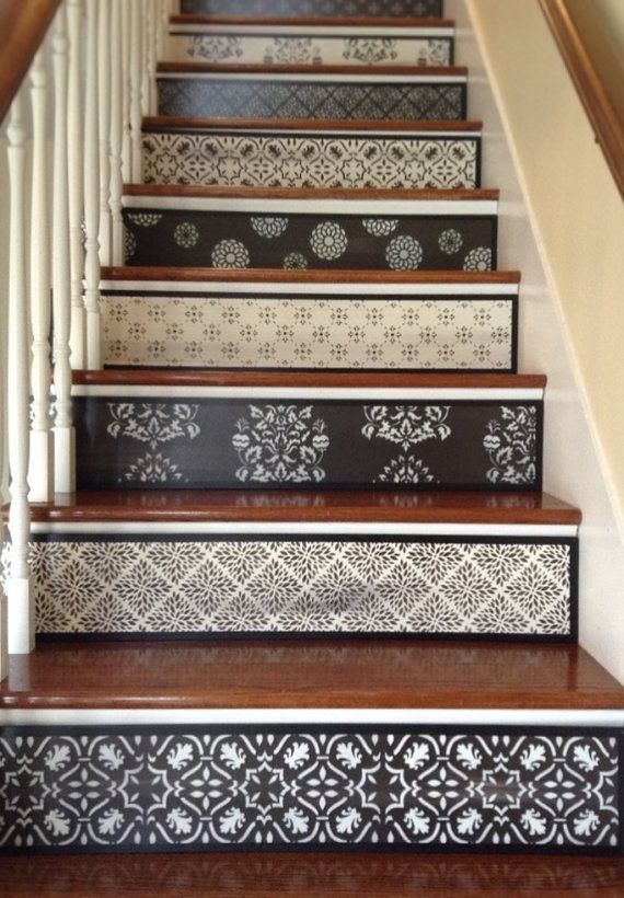 Attractive Best 25+ Stenciled Stairs Ideas On Pinterest | Painted Steps, Wallpaper  Stairs And Staircase Painting