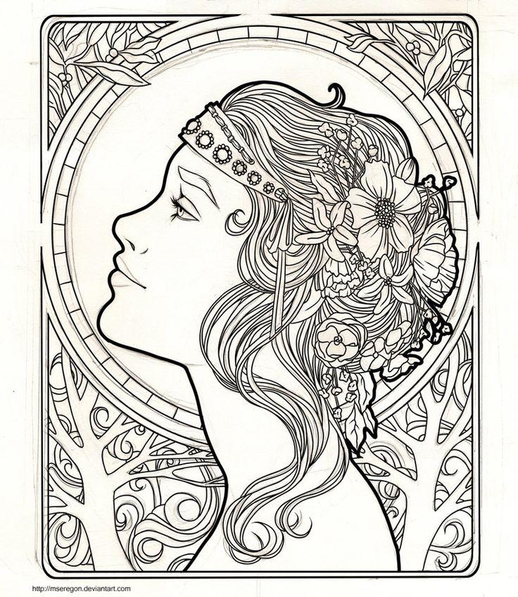 7312 best coloring pages images on pinterest | coloring books ... - Art Nouveau Unicorn Coloring Pages