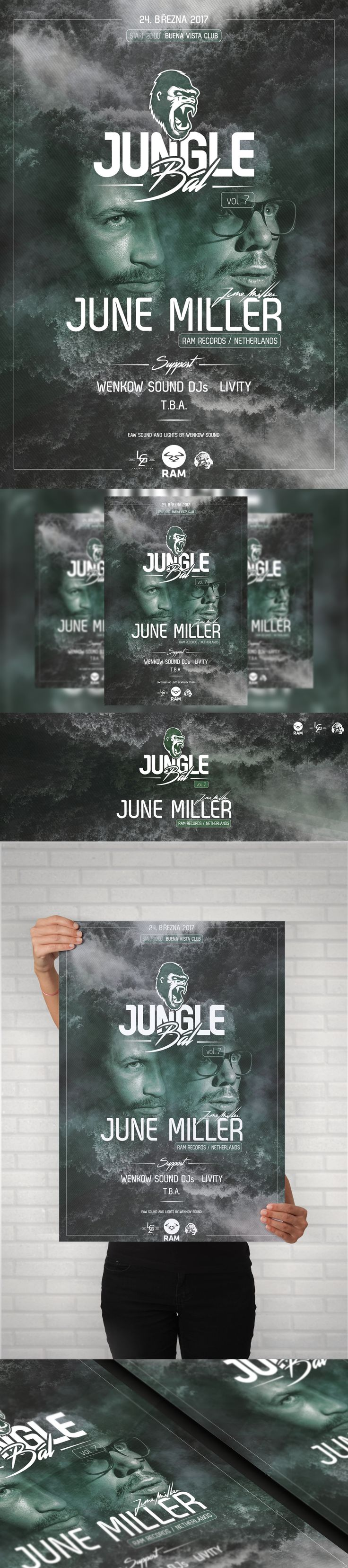 Jungle Bál (Vol. 7)  Electronic music event - A4 Poster, Facebook event header and preview. #poster #posterdesign #fbheader #graphicdesign