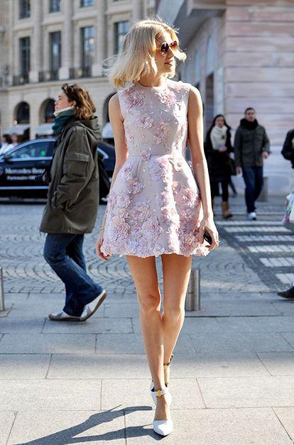 Elena Perminova in Pastel pink roses embellished mini ...