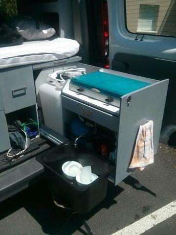 Chauffe eau et douche : Juillet 2014 Sur le précédent aménagement, j'avais installé un évier (gamelle de chien en inox), un petit robinet contacteur relié à une pompe immergée 12v dans un bid…