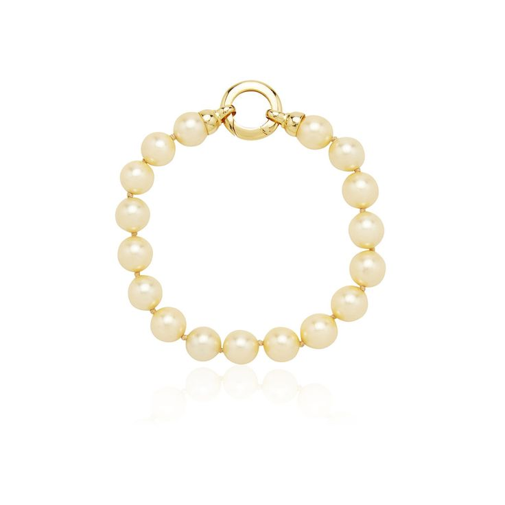 PASTEL YELLOW GOLD PEARL BRACELET | Pastel Yellow Gold Pearl Bracelet with sterling silver clasp plated in 18kt yellow gold. | French knotted on silk thread. 17cm (standard bracelet length)