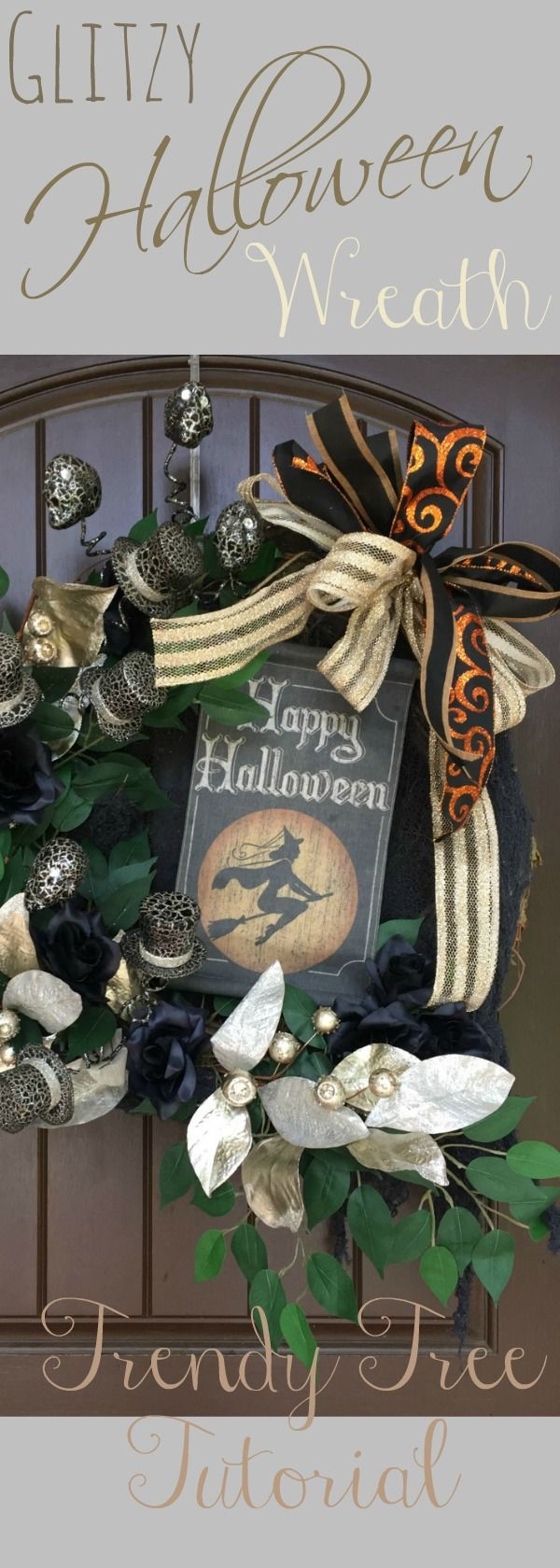 Glitzy Halloween Wreath that Carrie and Rachel put together at Trendy Tree. This wreath is a little something different for Halloween! Supplies Large Round