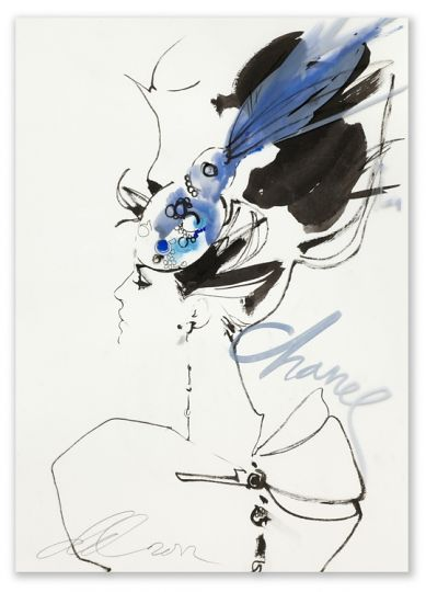 David Downton  Chanel Paris Couture for Vogue.COM  2012    Ink and water colour on paper and acetate overlay  43.5 x 29.5 cm    FIG Ref: 01900    Available to Buy Online    £1,750.00