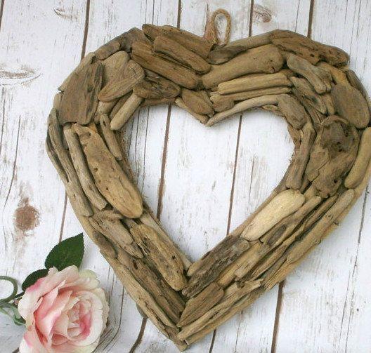 Drijfhout hart rustieke strand Decor natuurlijke door tonidecoreshop
