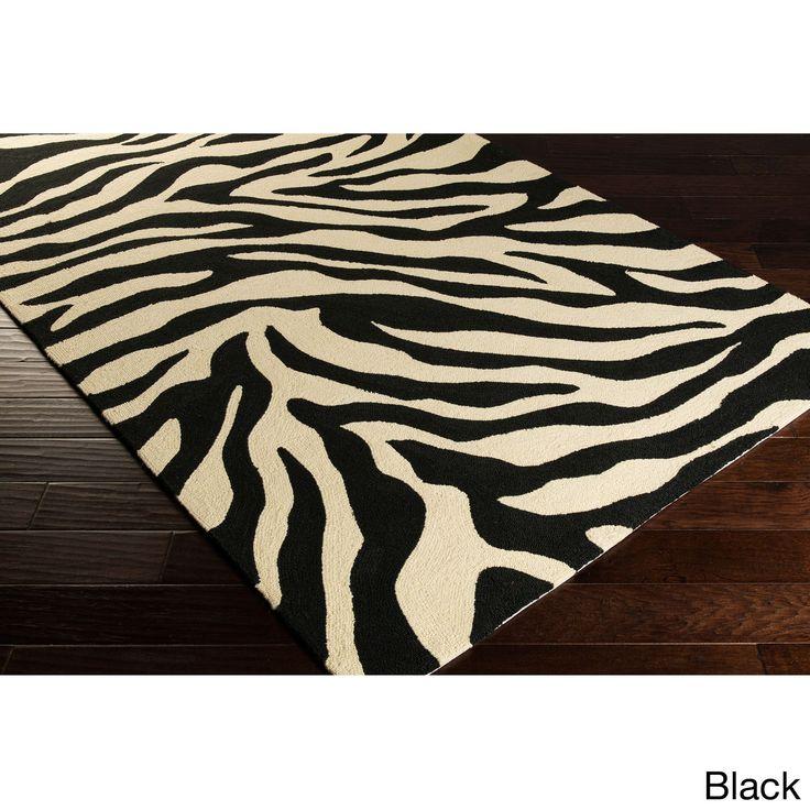 Hand-Hooked Adele Zebra Indoor/Outdoor Polypropylene Rug (2'6 x 8') (