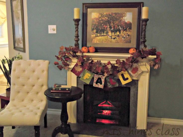 fall mantel decor by mrshinesclass.com