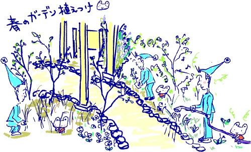 ~自然の休憩所~ Berry's Life うっかり日記 2010年4月3~4日 大阪からの「植え付け隊」を待ってましたが、今春は多忙のため出動できないという知らせ。。。ひろりんから送られて来た苗をベリー公がシコシコ一人で植え付けました。まず、秋から放りっぱなしのため、草抜きから始めなければなりません。枯れ枝や雑草を整理して、どの子をどこに植えるか配置決め。2月3月、ずーっと事務処理でガーデン仕事やベリーの世話がほとんどできなかったので、ベリー公はとっても嬉しそう。うっかりウサギはガーデン作業は手伝っていませんが、お店の中から応援していました。。。休憩所のガーデンは野に咲く花のような野草に近いお花が多く、今芽吹いたばかり。4月末、ゴールデンウィークごろが春の見頃です。今、アーモンドとローズマリー、クリスマスローズなどが咲いています。ジューンベリーの蕾が膨らんでいるので、もうすぐ咲きそうです。アーモンドの花も年々花数が増えています。庭の土が肥え、去年よりもパワーアップするであろう休憩所のガーデン。。。ぜひ見に来てくださいね!   http://berryslife.com