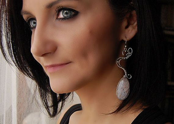 Earrings Wire wrap  silver sterling moonstone by HoneyAndRings, $130.00