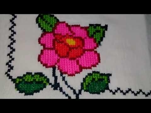 servilleta Bordada A Mano 1 Rosa Y Borde - YouTube