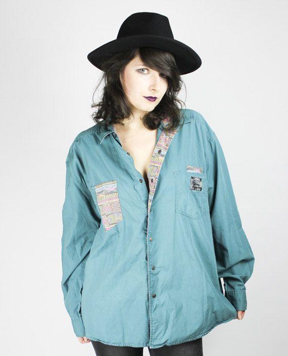 Vintage Bluse Türkis Blau Grün Western Cowboy Shirt von shttyfcky Turquoise Blouse Grunge Alternative
