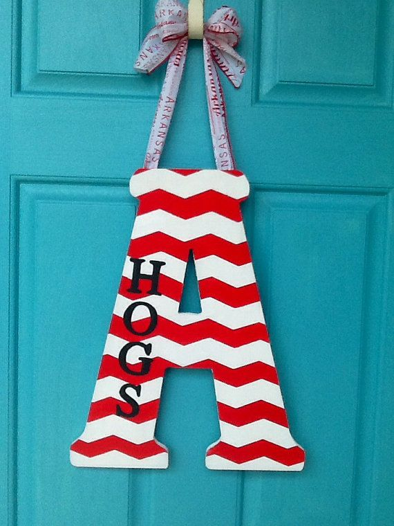 Chevron Painted Letter Team Letter Hogs Painted by AEinspirations, $31.45