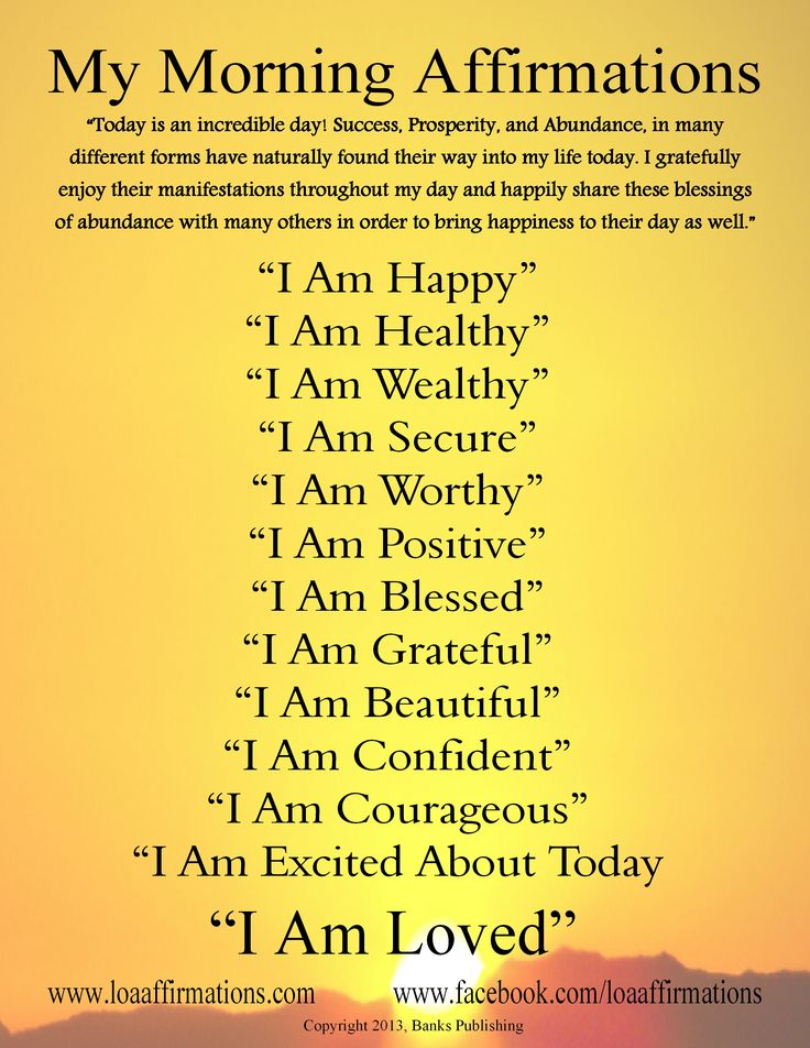 Morning affirmations. Start every day in the right direction! www.loaaffirmations.com