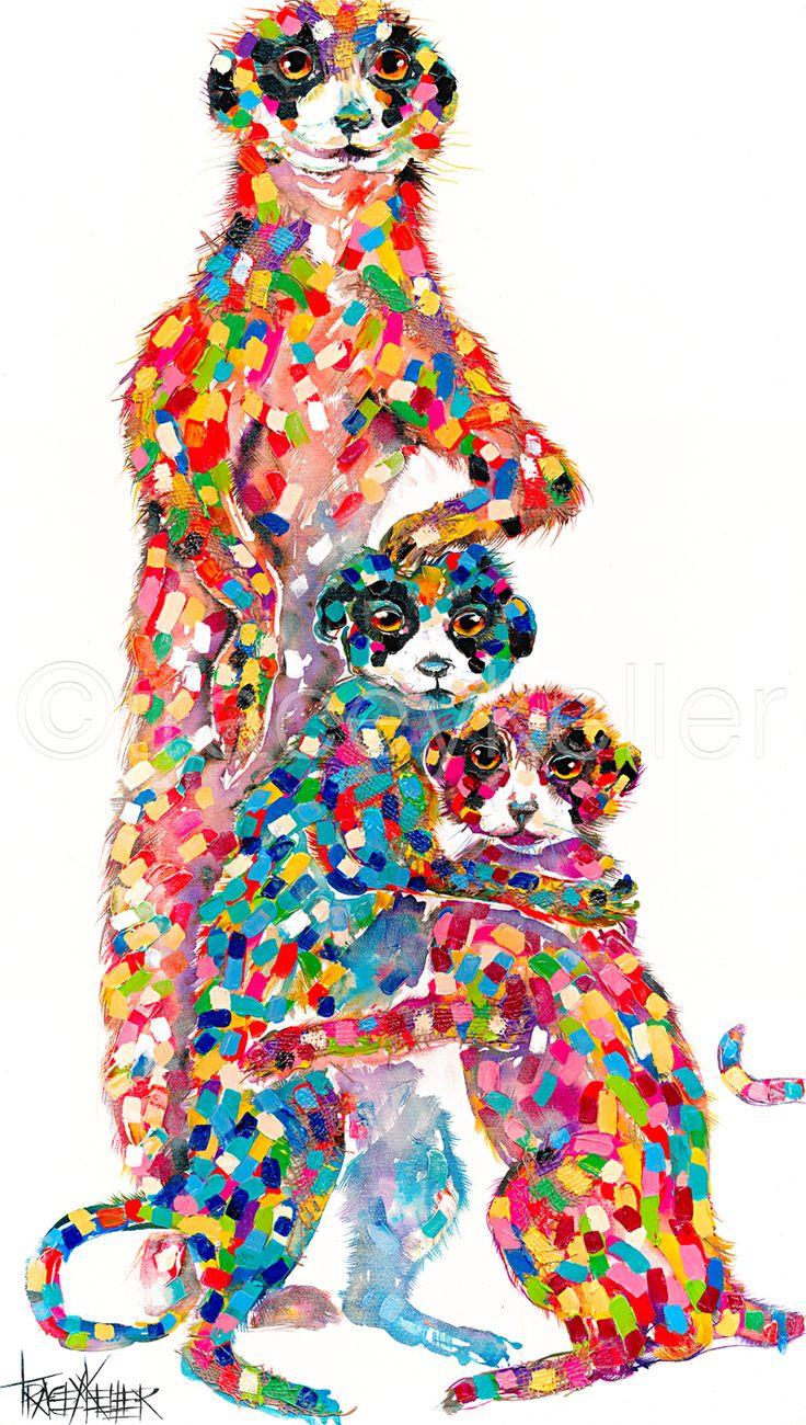 Meenie Minie and Mo meerkats painting tracey keller