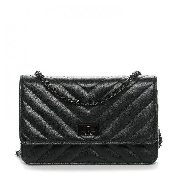 fd9e677a3734 CHANEL Sheepskin Chevron Reissue Wallet On Chain WOC So Black ❤ liked on  Polyvore featuring bags