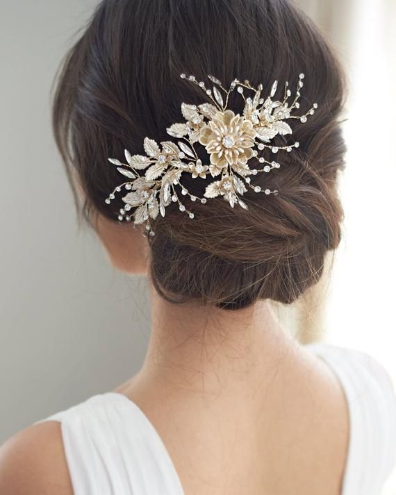 Bridal Hair Piece Rose Gold Floral Wedding Accessory Bridal Etsy Floral Headpiece Wedding Floral Wedding Hair Wedding Hair Clips