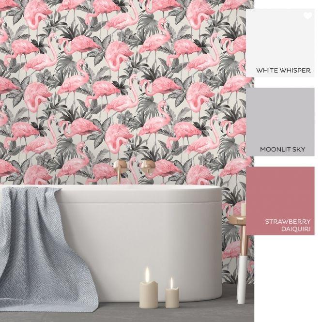 Flamingo Wallpaper Pink Soft Grey Flamingo Wallpaper Grey