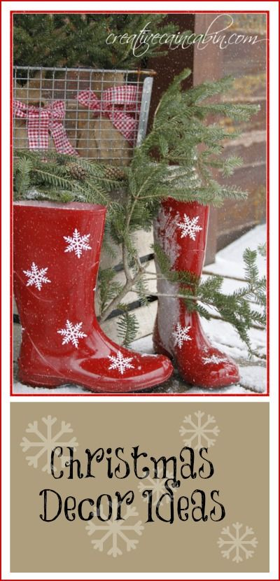 Red Snowflake Boots, Gingham, and Pine - Creative Cain Cabin---spray painted boots....white snowflakes and gingham ribbon...so cute.