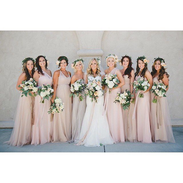 Champagne/blush pink shades of bridesmaid dresses but with bright bouquets (like the blue/purple/pink orchids)
