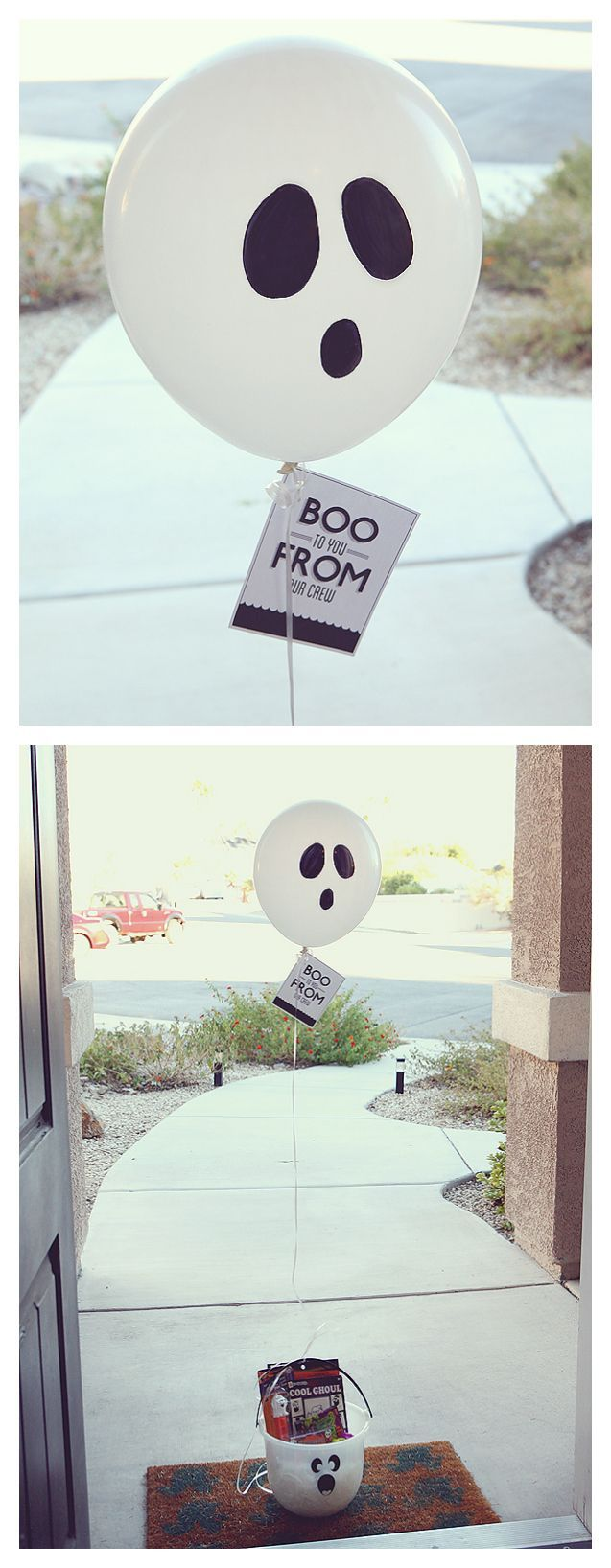 Boo to You - Draw a simple ghost face on the balloon with a Sharpie, then fill…