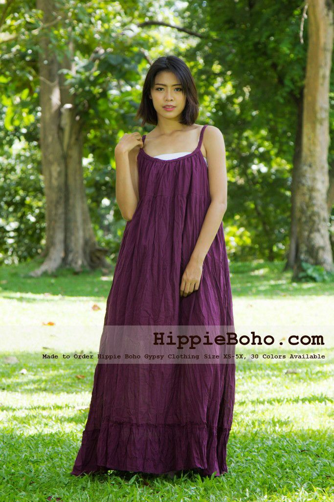 No.164 - Size XS-5X Hippie Boho Clothing Gypsy Purple Maxi Plus Size Strap Dress, Maxi Long Plum Dress