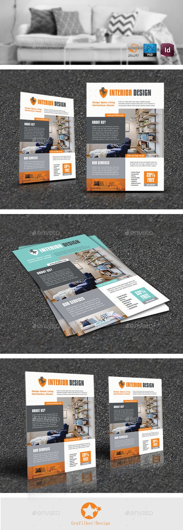 Interior Flyer Template #design Download: http://graphicriver.net/item/interior-flyer-templates/12137495?ref=ksioks