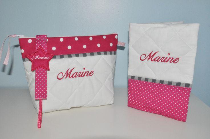 Box cadeau:Trousse de toilette+attache-tétine/sucette étoile+protège carnet de santé enfant ou bébé pois rose fushia personnalisée brodée : Puériculture par lbm-creation
