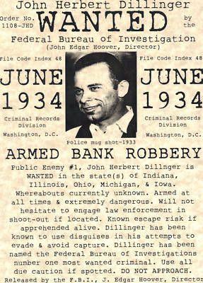 Póster de búsqueda del famoso ladrón de bancos John Dillinger (EEUU) #Historia
