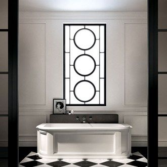 This art-deco inspired bathroom has more than a hint of old-school glamour with its monochrome colour palette.  #artdeco #interiordesign #blackandwhite #luxury