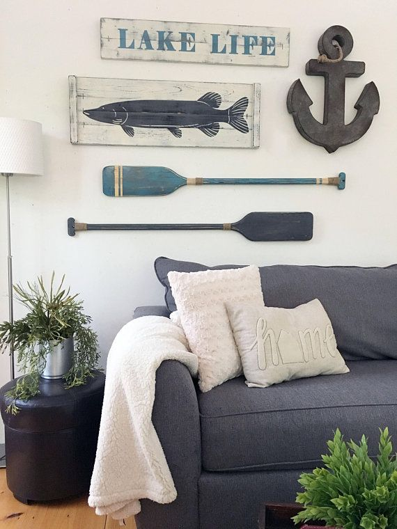 Lake House Decor 36 X 12 Fish Wall Decor Nautical Art