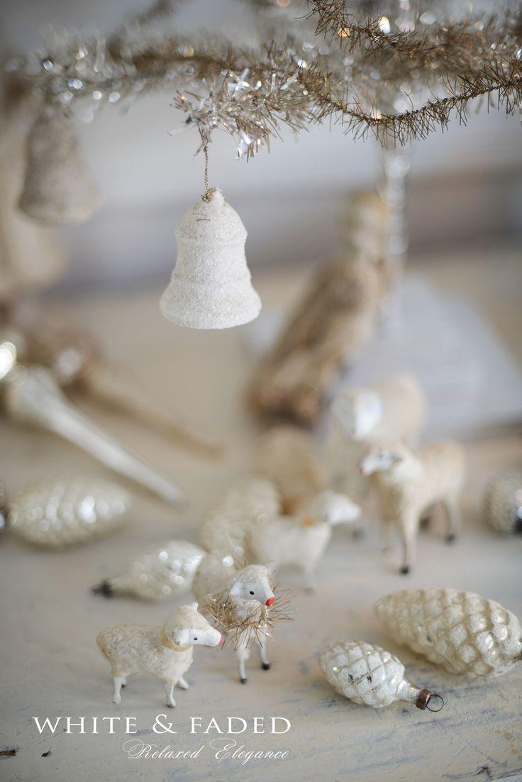 Putz sheep and spun cotton ornaments