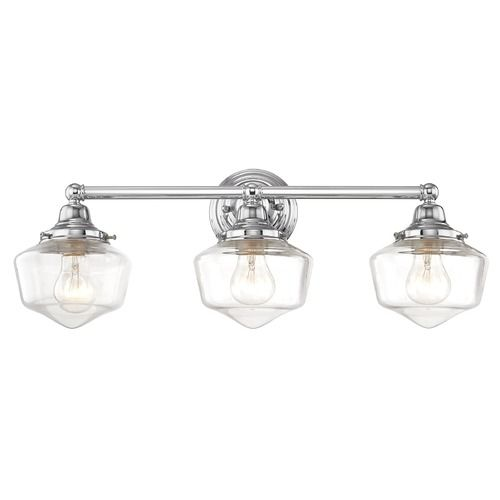Clear Glass Schoolhouse Bathroom Light Chrome 3 Light 23.125 Inch Length at Destination Lighting