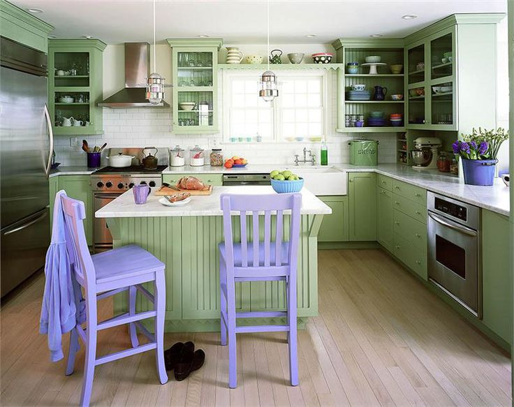 Pale Green Kitchen Design With Lavender Highlight Part 85