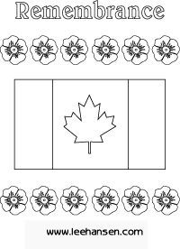 Printable Remembrance Day Canada flag coloring page