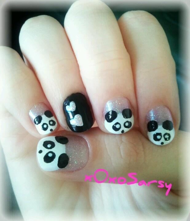 Panda Nail Art: Panda Nail Art With Hearts And Glitter On Short Nails