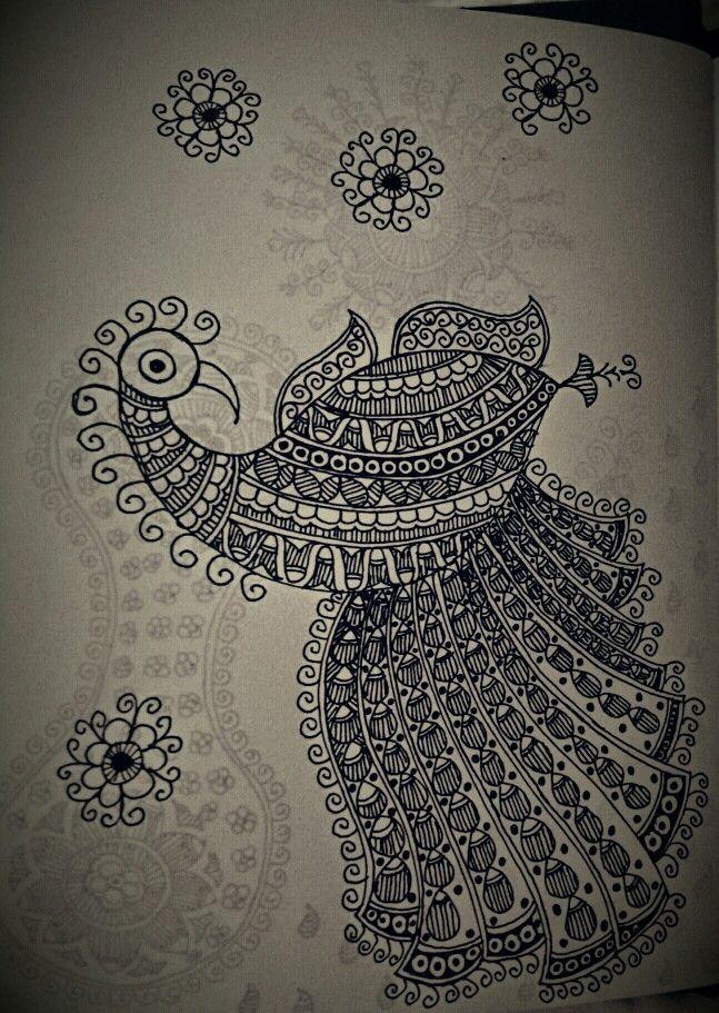 Dancing peacock in Madhubani Style !!!