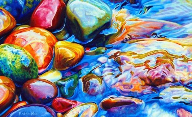 L'artiste Ester Roi, basée en Californie, réalise un tableau impressionnant, bardé de couleurs et d'un aspect très réaliste. Ce lit de rivière avec ses cailloux brillants est composé à partir de simples crayons de couleur.