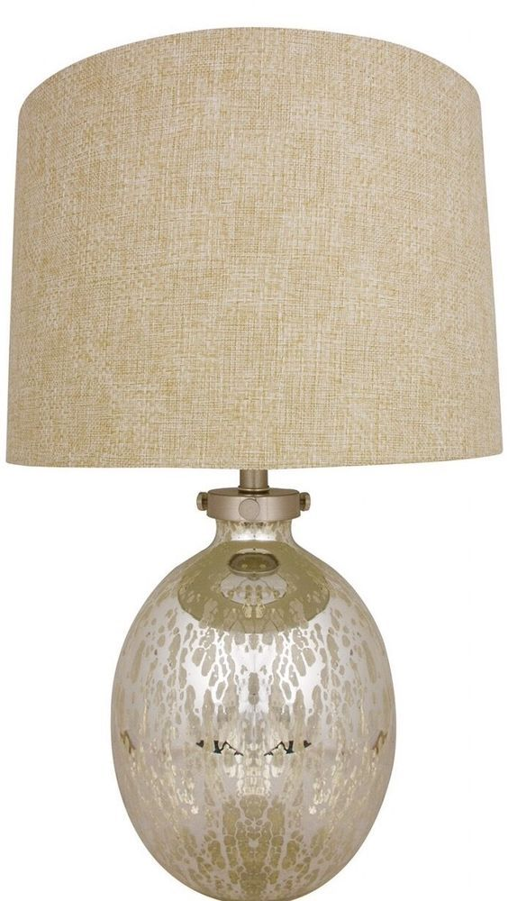 LARGE Silver Gold Mercury Glass Curved  Table Lamp Check Hessian Shade NEW