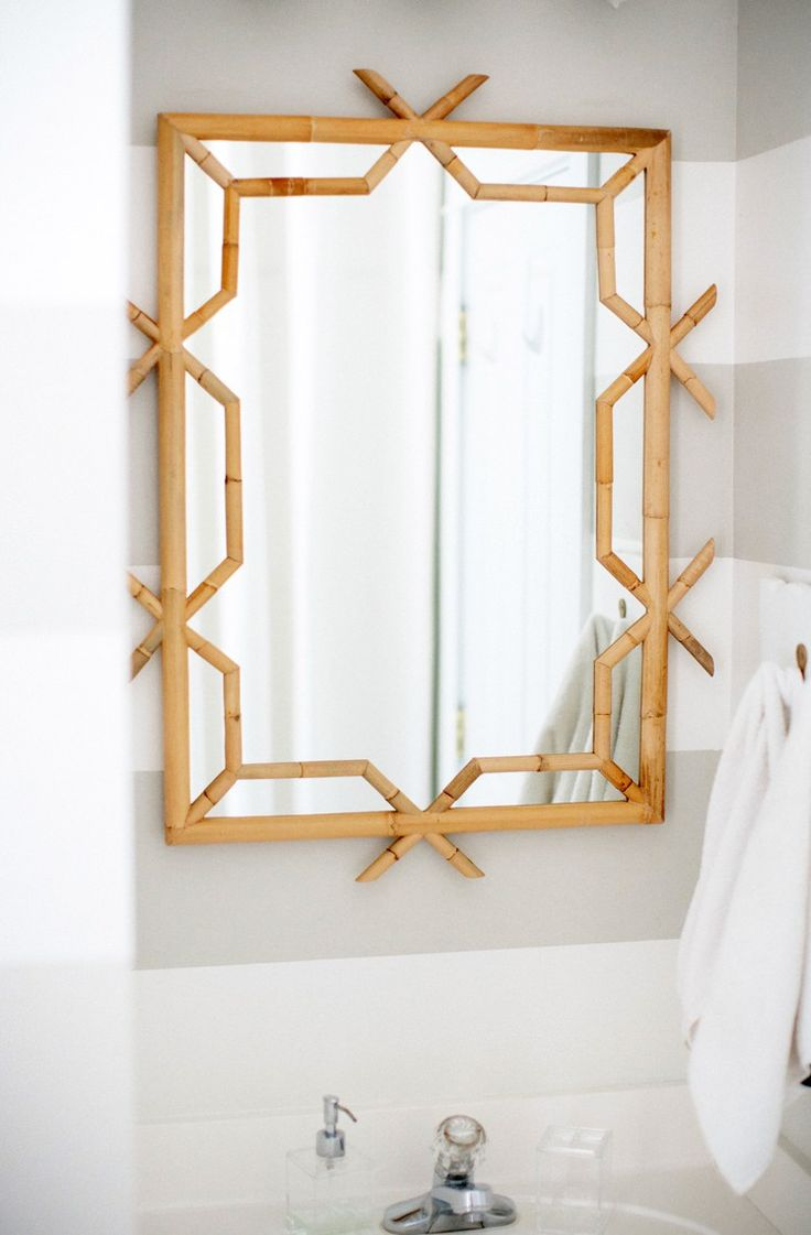 Our New Serena & Lily Bathroom Mirror - Simple Stylings - www.simplestylings.com - home decor - bamboo mirror - rattan - palm beach chic - coastal
