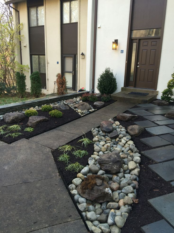 Townhouse Landscaping With Dry River And Slate Design