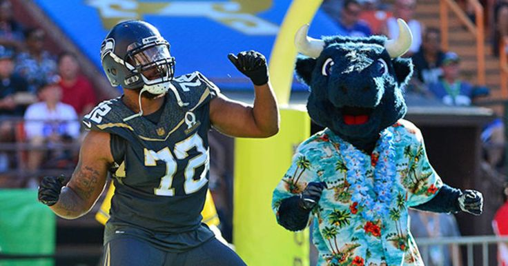 Lining up for one play at RB, Michael Bennett almost runs 57 yards for a TD on the 2016 Pro Bowl.