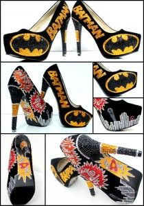 Superhero Batman High Heeled Stiletto Women's Shoes with hidden platform and pointed toe, as well as Batman name and bat insignia.