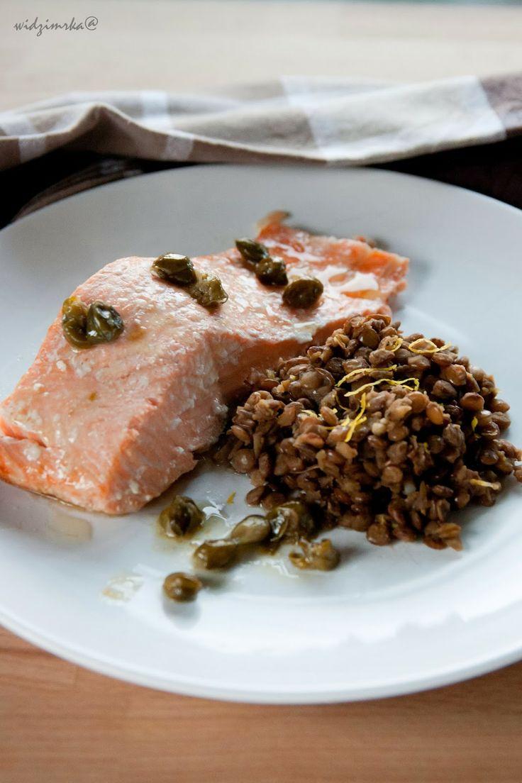 Widzimrka: Łosoś w sosie kaparowym z soczewicą / Salmon in capar sauce with lentils