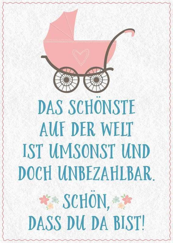 Babykarte mit Zeichnung und Spruch
