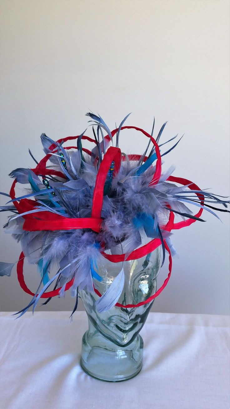Making a statement custom designed and dyes feathers with hoops of scarlet and blue/greys