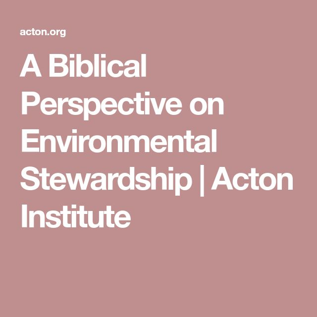 A Biblical Perspective on Environmental Stewardship | Acton Institute