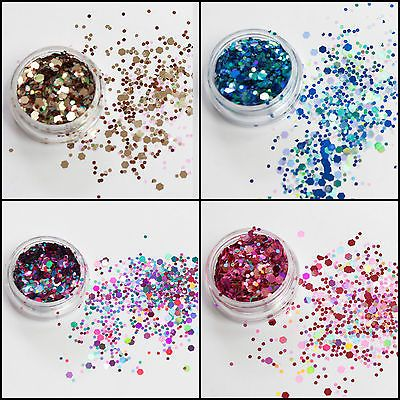 Mixed Flake Chunky Glitter Pots Nail Art Eye Shadow Tattoo Festival Body Dance in Crafts,Cardmaking & Scrapbooking,Glitter | eBay