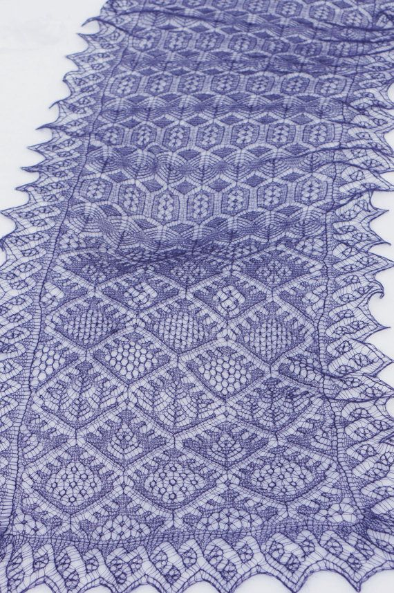 Hand knitted shetland lace shawl. Kid mohair and silk knit