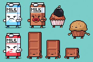 Here is a few other enemies I did for the Waffle em up back then. #pixelart